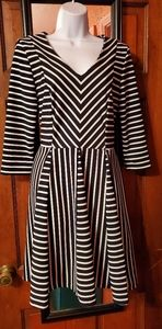 Black and white striped dress with flare bottom